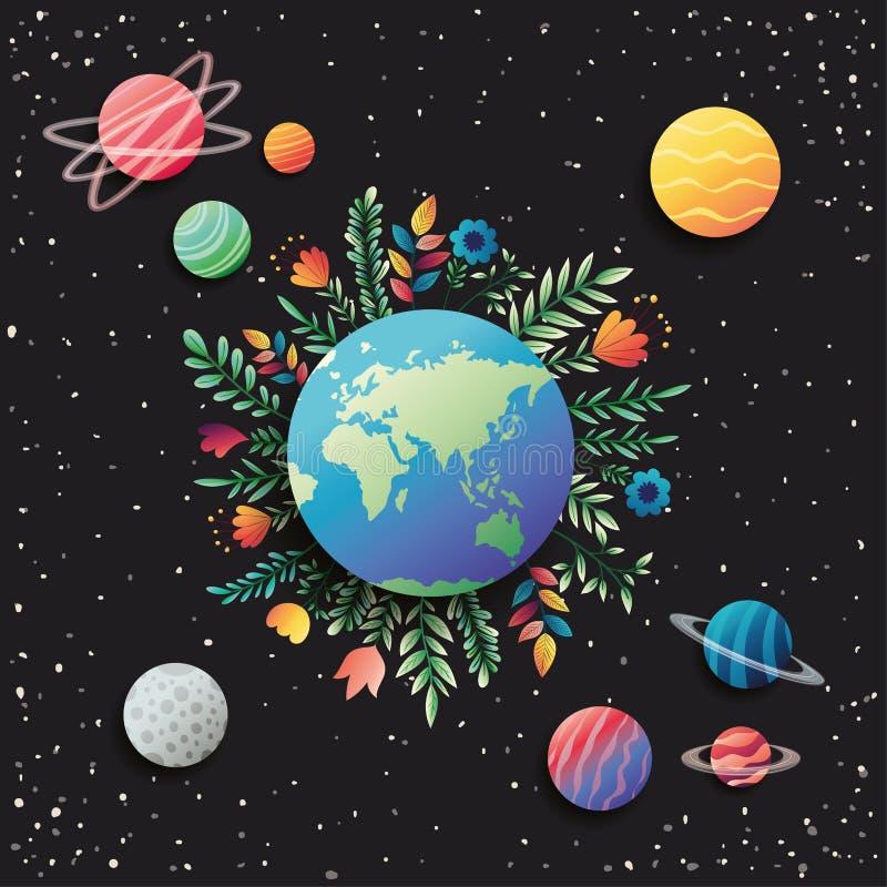 Grupp av planeter med blom- garnering royaltyfri illustrationer