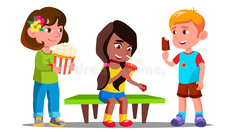 Grupp av pojkar och flickor som tillsammans äter vektorn isolerad knapphandillustration skjuta s-startkvinnan vektor illustrationer