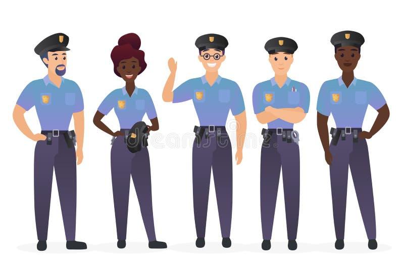 Grupp av polisfolk Illustration för vektor för tecken för man- och kvinnaordningsvaktsnutar royaltyfri illustrationer