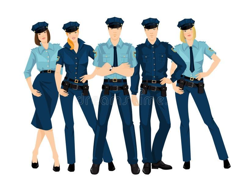 Grupp av polismän och kvinnor royaltyfri illustrationer
