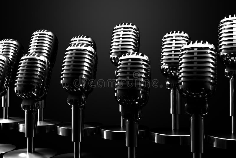 Grupp av retro mikrofoner royaltyfri illustrationer