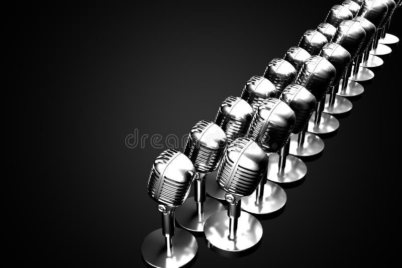 Grupp av retro mikrofoner stock illustrationer