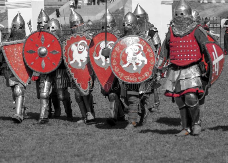 Grupp av riddare royaltyfri bild