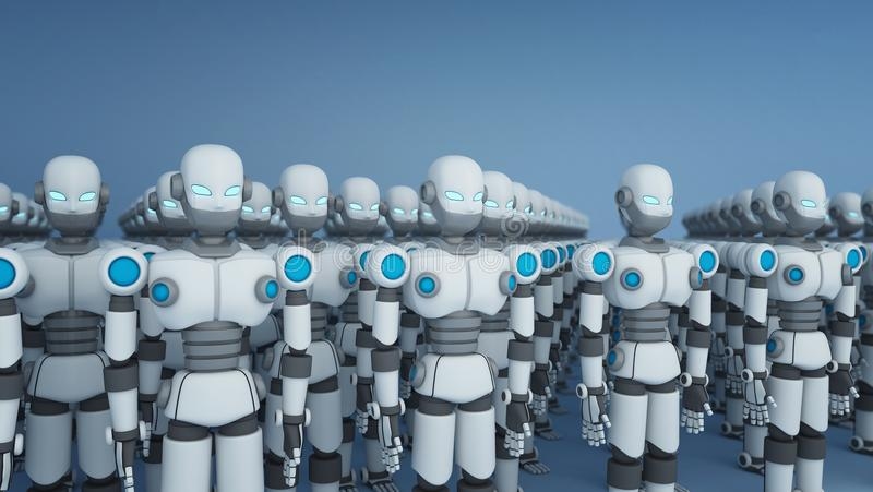 Grupp av roboten på vit, konstgjord intelligens i futuristiskt royaltyfri illustrationer