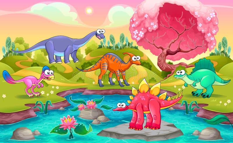 Grupp av roliga dinosaurier i ett naturligt landskap vektor illustrationer