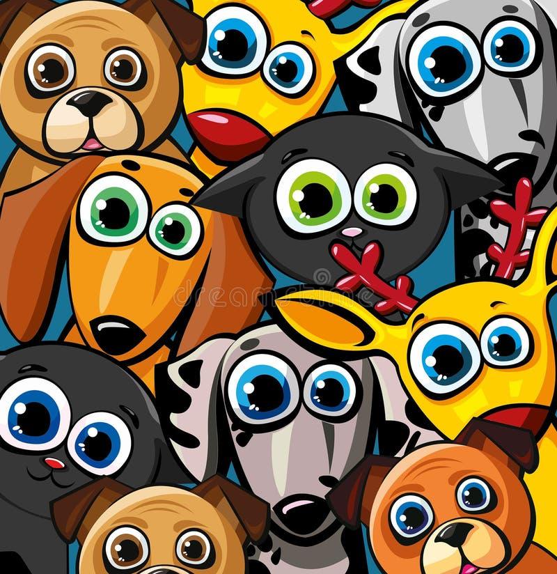 Grupp av roliga djur - katter, hundar och hjortar stock illustrationer