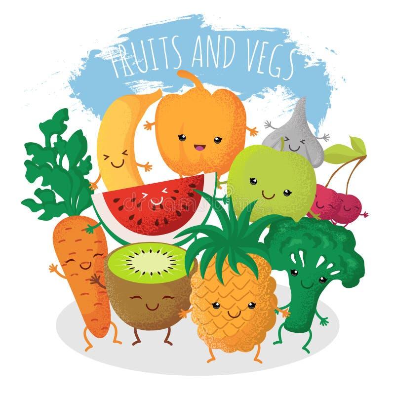 Grupp av roliga frukt- och grönsakvänner Vektortecken med lyckliga le framsidor royaltyfri illustrationer