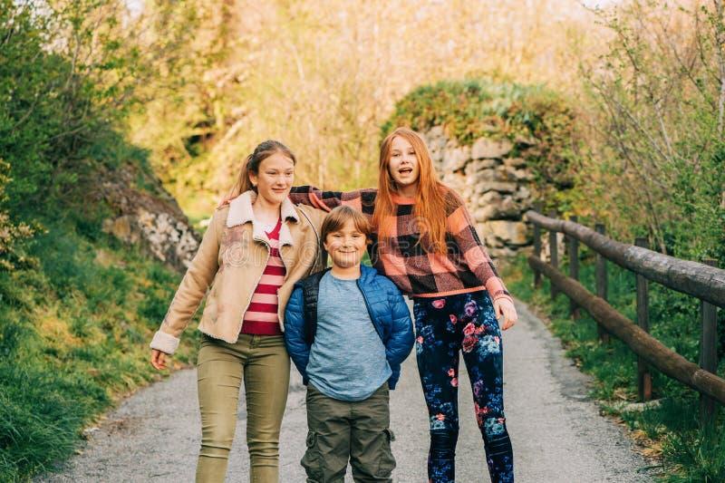 Grupp av 3 roliga ungar som tillsammans spelar i bygd royaltyfri fotografi
