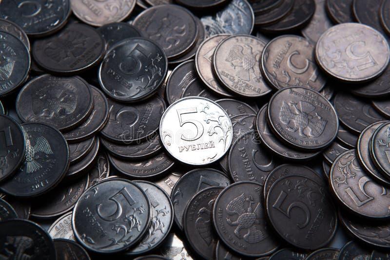 Grupp av ryska rubel i form av mynt royaltyfri fotografi