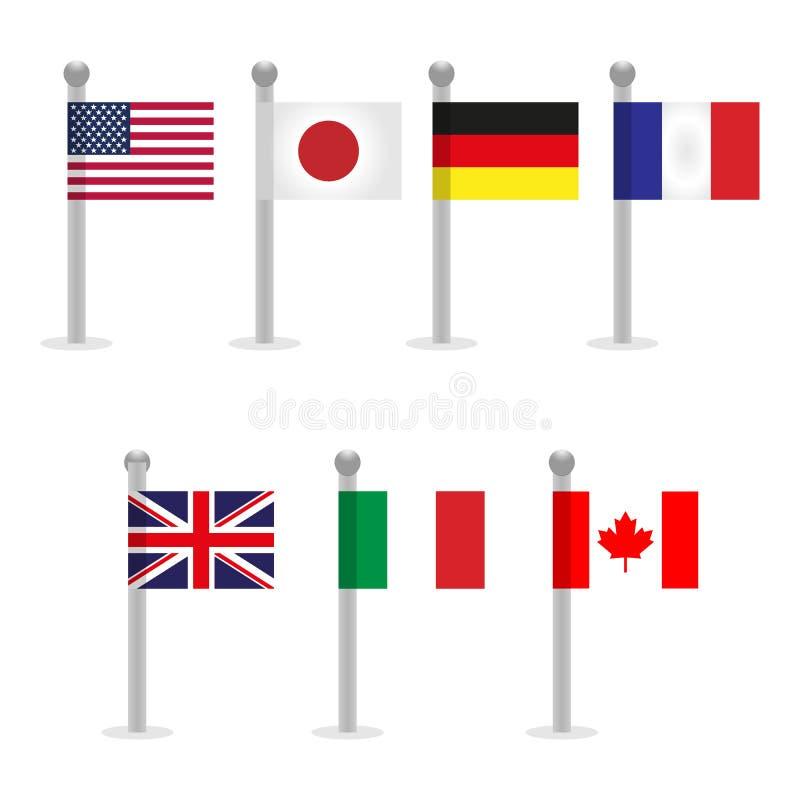 Grupp av sju G7 och medlemsstatflaggor royaltyfri illustrationer