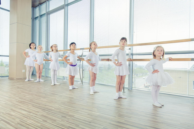 Grupp av sju lilla ballerina som står, i rad och övning royaltyfri foto