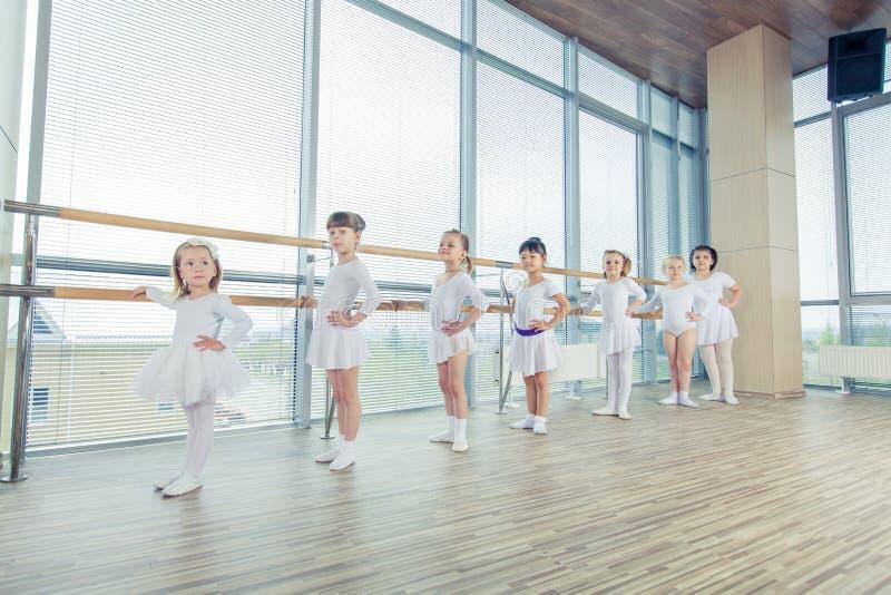 Grupp av sju lilla ballerina som står i rad och praktiserande balett genom att använda pinnen på väggen royaltyfria bilder
