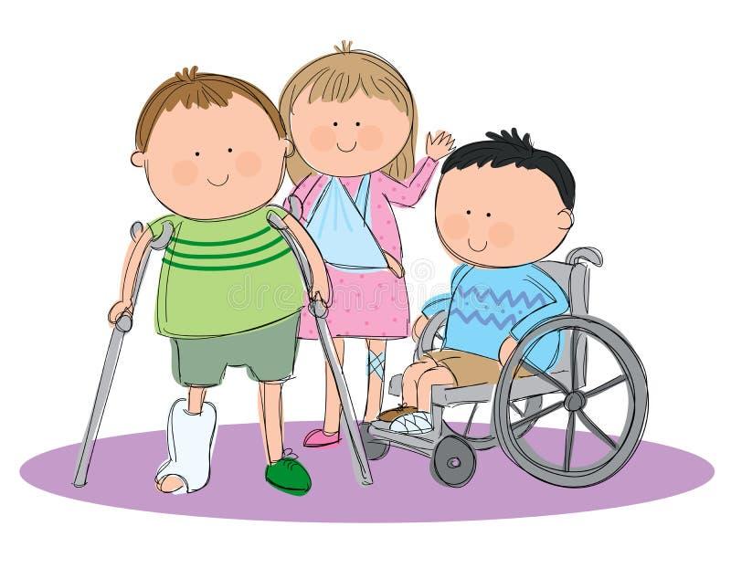 Grupp av sjuka ungar vektor illustrationer