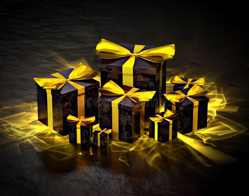 Grupp av skinande gåvaaskar, med guld- caustics stock illustrationer