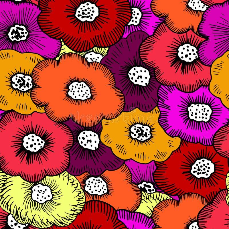Grupp av skraj blom- royaltyfri illustrationer