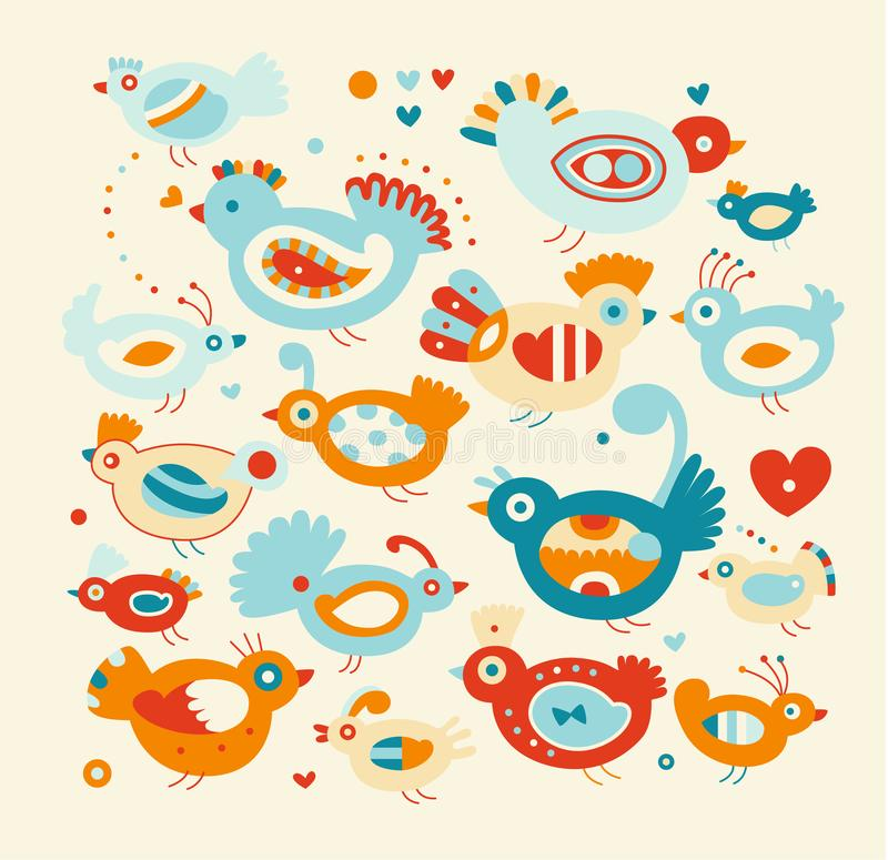 Grupp av skraj fåglar stock illustrationer
