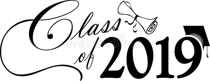 Grupp av skrift 2019 med diplomet och avläggande av examenlocket stock illustrationer