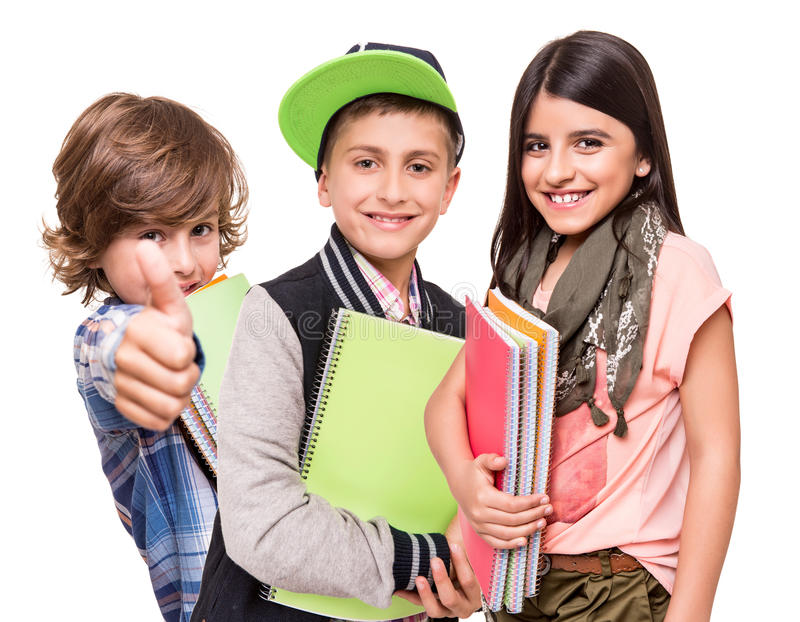Grupp av små studenter arkivbild
