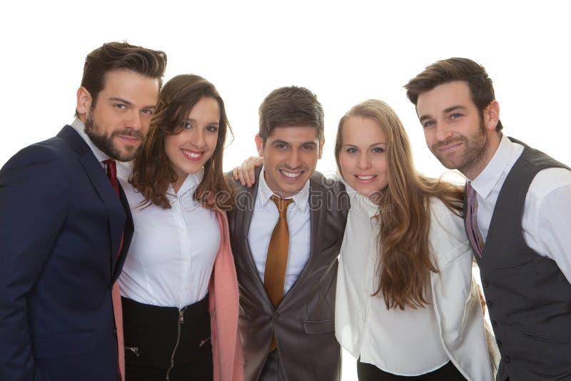 Grupp av smart lyckligt affärsfolk arkivbild