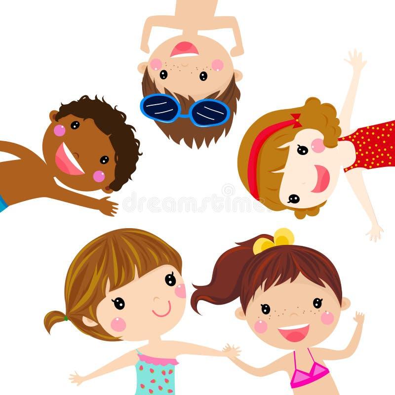 Grupp av sommarungar royaltyfri illustrationer