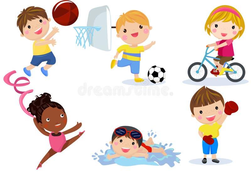 Grupp av sportbarnsamlingen vektor illustrationer