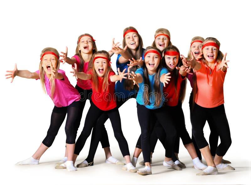 Grupp av sportiga flickor royaltyfri foto