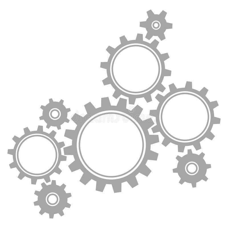Grupp av stora åtta och små grafiska kugghjulgrå färger stock illustrationer