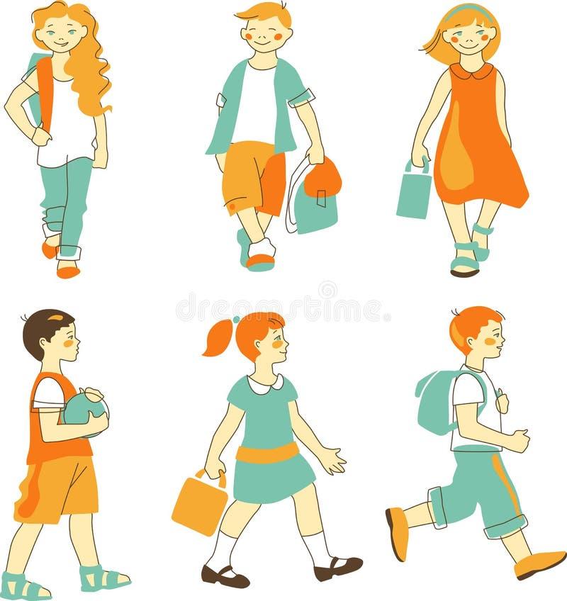 Grupp av studenter vektor illustrationer