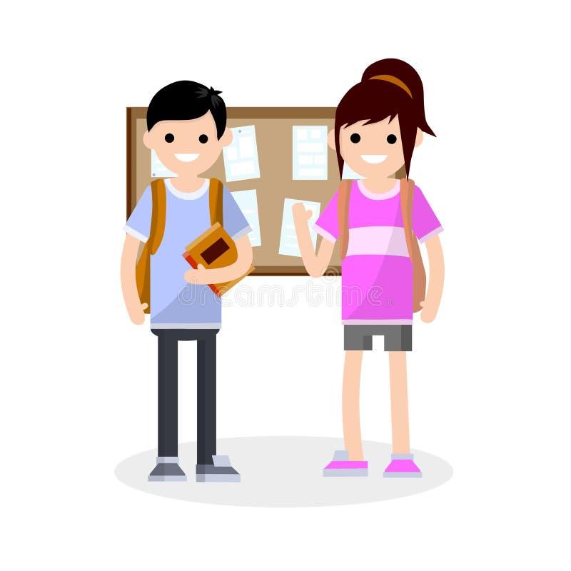 Grupp av studenter i högskola-enpojke och en flicka med ryggsäckar royaltyfri illustrationer