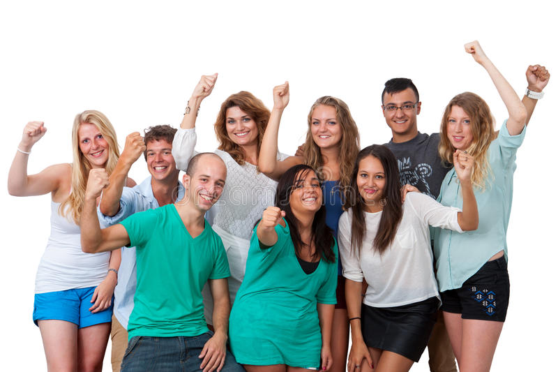 Grupp av studenter med positiv inställning. arkivbild