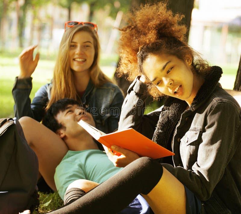 Grupp av studenter på gräs som prepaing till examen arkivbild