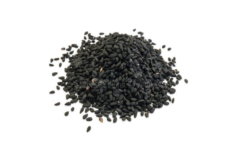 Grupp av svart spiskummin som isoleras på vit bakgrund royaltyfri bild