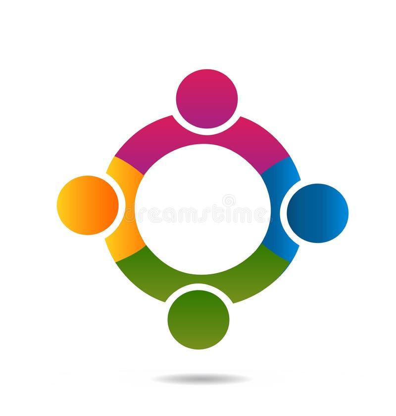 Grupp av teamworkfolk som bildar en cirkelsymbol royaltyfri illustrationer