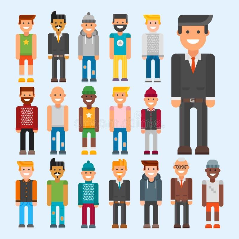 Grupp av teckenet för kamratskap för nationalitet för manstående det olika stock illustrationer