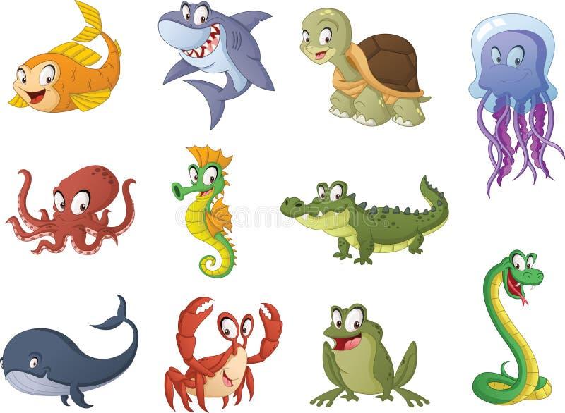 Grupp av tecknad filmfisk, reptilar och amfibier Vektorillustration av roliga lyckliga vatten- djur vektor illustrationer