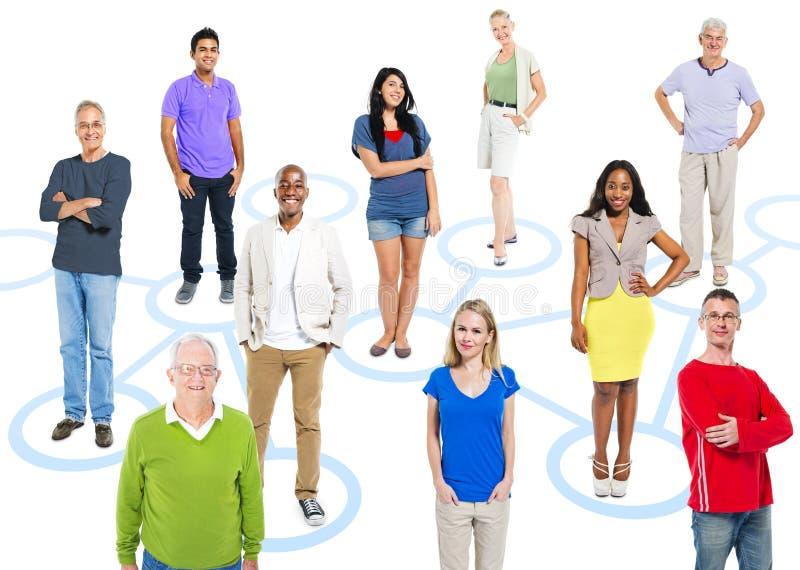 Grupp av Themed stående för affärsfolk och social nätverkande arkivfoto