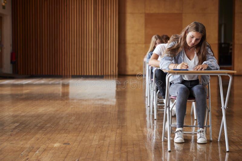 Grupp av tonårs- studenter som sitter undersökning i skolan Hall royaltyfria foton
