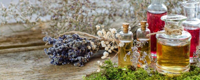 Grupp av torr lavendel och flaskan med aromatisk olja royaltyfri bild