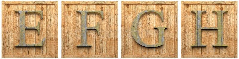 Grupp av träG-H för bokstäver E F stock illustrationer