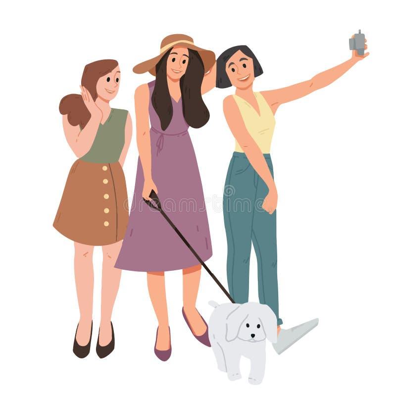 Grupp av tre flickor och hund som tar en selfie Kvinnliga vänner som tillsammans fotograferas royaltyfri illustrationer