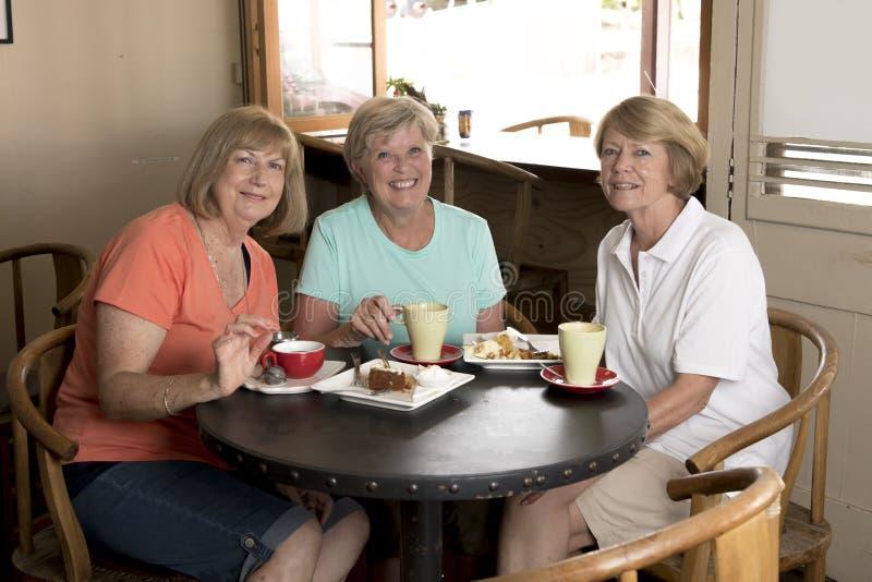 Grupp av tre flickvänner för kvinnor för älskvärd mellersta ålderpensionär som mogna möter för kaffe och te med kakor på coffee s fotografering för bildbyråer