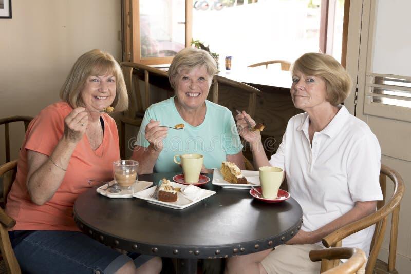 Grupp av tre flickvänner för kvinnor för älskvärd mellersta ålderpensionär som mogna möter för kaffe och te med kakor på coffee s royaltyfria bilder