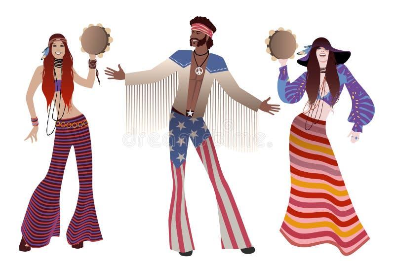 Grupp av tre två flickor som spelar tamburinar och kläder för en hippie för pojke bärande av 60-tal och 70-tal vektor illustrationer