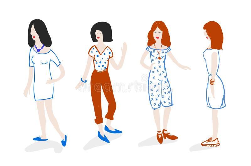 Grupp av trendiga flickor som står klotterstil royaltyfri illustrationer
