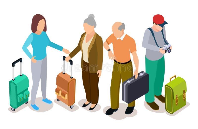 Grupp av turister, isometriska unga och gamla turister med resväskavektorillustrationen royaltyfri illustrationer