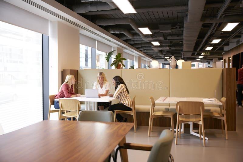 Grupp av unga affärskvinnor som sitter runt om tabellen och samarbetar på uppgift genom att använda bärbara datorn på den doktora arkivbild