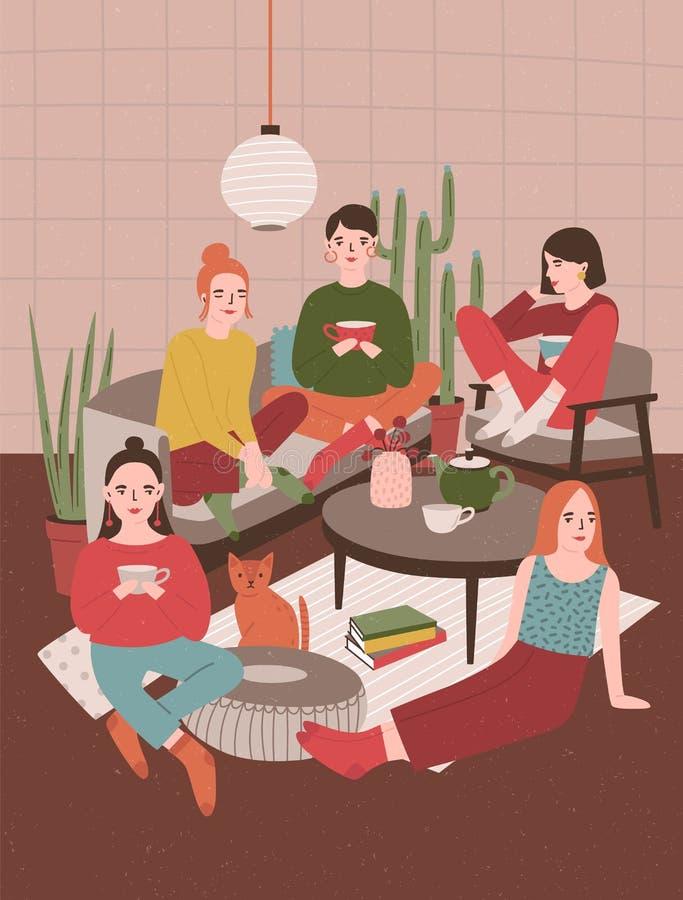 Grupp av unga kvinnor som sitter i rum som möbleras i skandinavisk stil, dricker te och till varandra talar flickor stock illustrationer