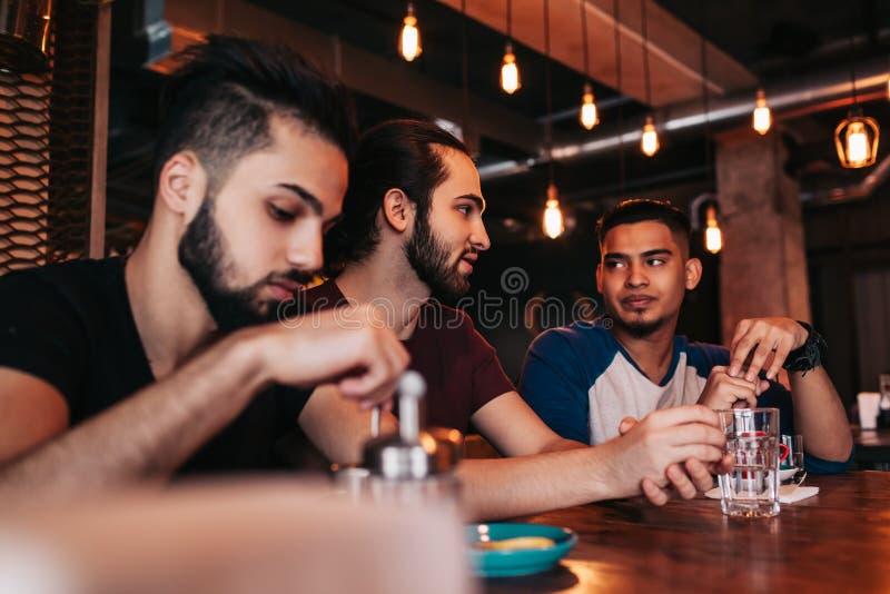 Grupp av unga män för blandat lopp som talar i vardagsrumstång Blandras- vänner som spenderar tid i kafé fotografering för bildbyråer