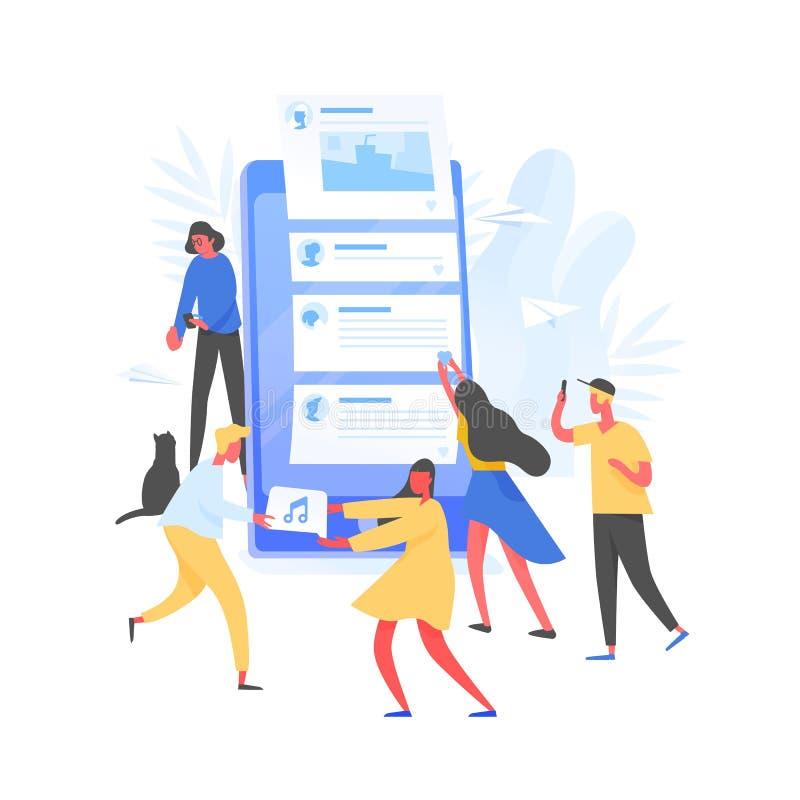 Grupp av unga män och kvinnor och jätte- smartphone med stolpar på skärmen Begrepp av skapelsen och att dela för internetinnehåll royaltyfri illustrationer
