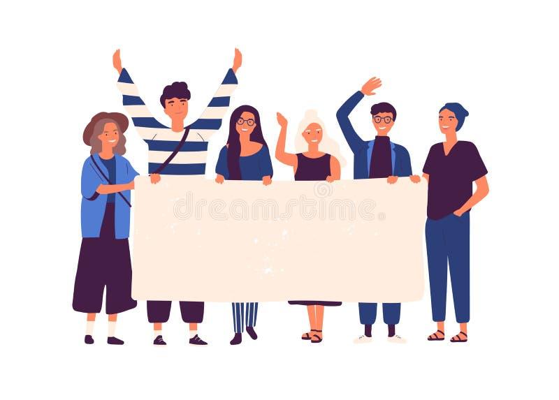 Grupp av unga män och kvinnor som tillsammans står och rymmer det tomma banret Folkdeltagandet ståtar eller samlar in Man och royaltyfri illustrationer